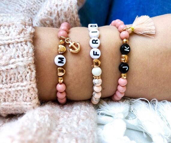 Customizable Name braceletNamed Bracelet Individual Initials letters Beaded Bracelet Women Blue white rose gold wish Name Gift