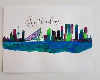 Watercolorpainting Rotterdam Skyline