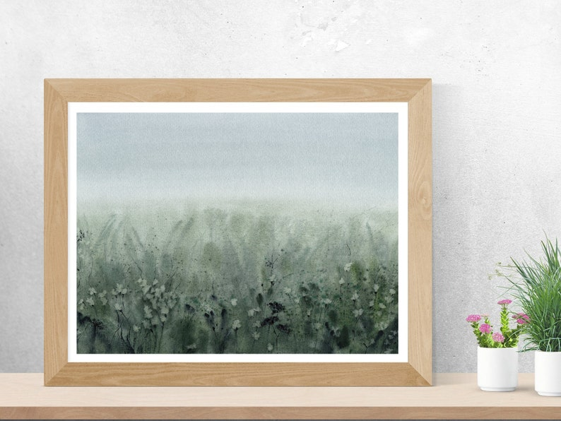 Vintage Abstract Foggy Landscape Aquarelle Print Modern | Etsy