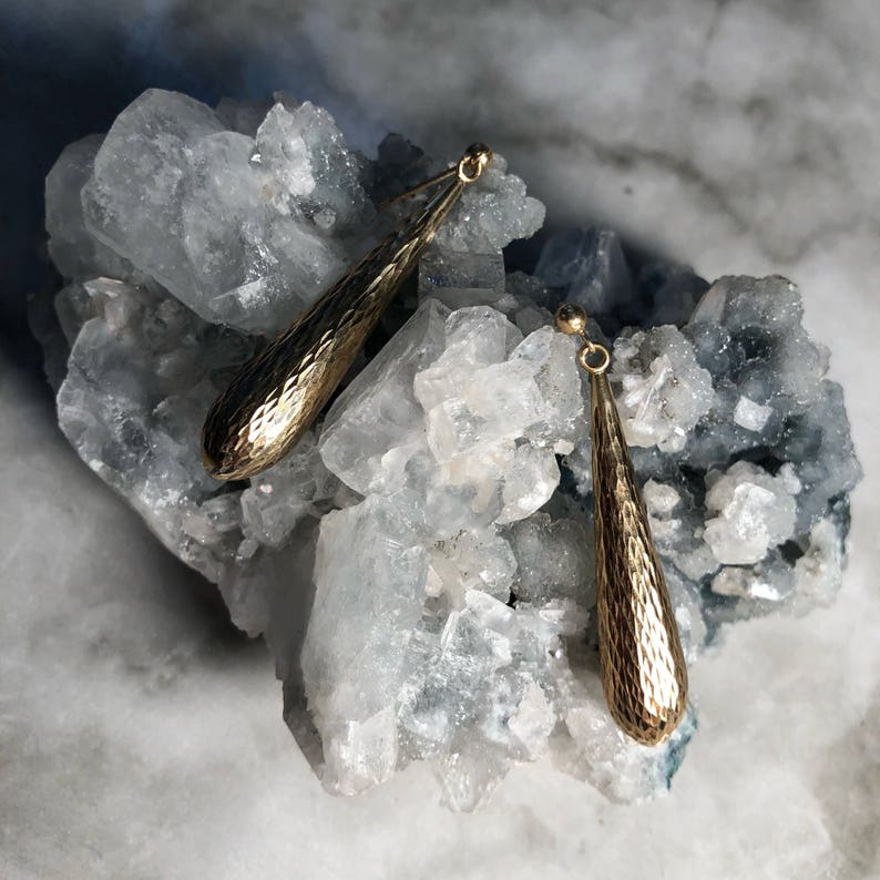 9d5266181 Vintage Textured Rose Gold Drop Earrings | Etsy