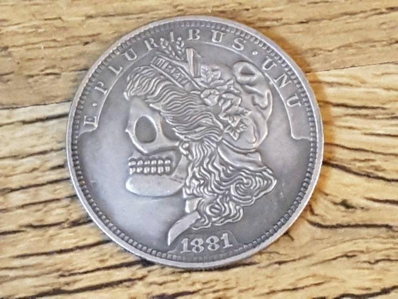 Skull Morgan Liberty Silver Dollar 1 One Fantasy Hobo Coin 1881