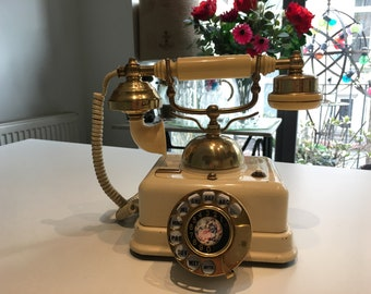 Vintage Telephone rotary dial Style Renaissance Bakelite & ivory - Circa 1950 - Vintage copper