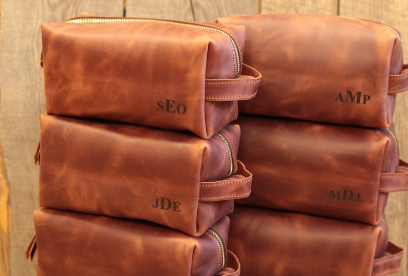 Personalized Leather Dopp Kit Anniversary Gifts For Men