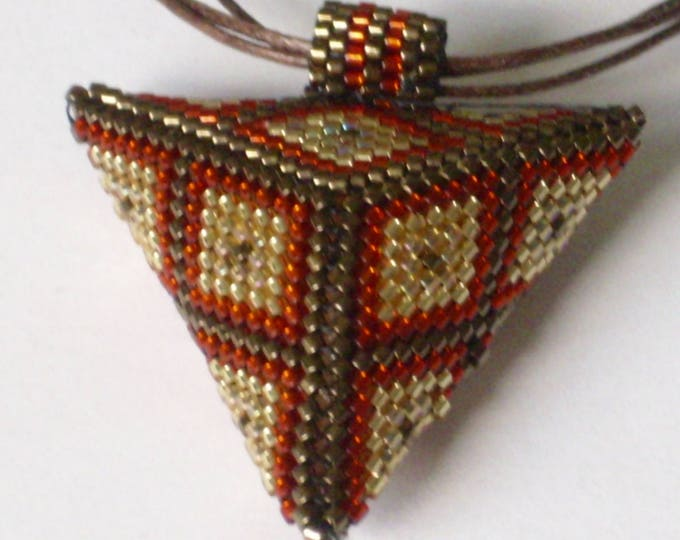 necklace #3-D pendant #triangle #red  #gold  brown  #thread #Peotetechnik # handwork #gift for women and girls #60 cm
