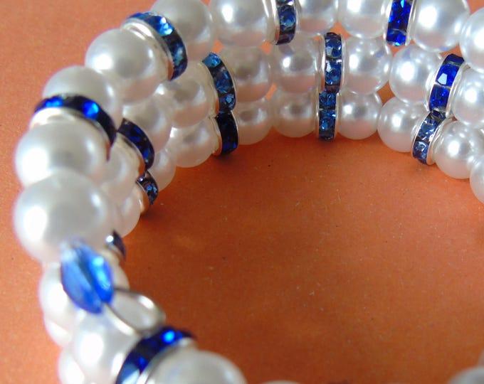 Spiral bracelet #white blue #white pearl beads  #rhinestone rondelle blue #Memorysteel