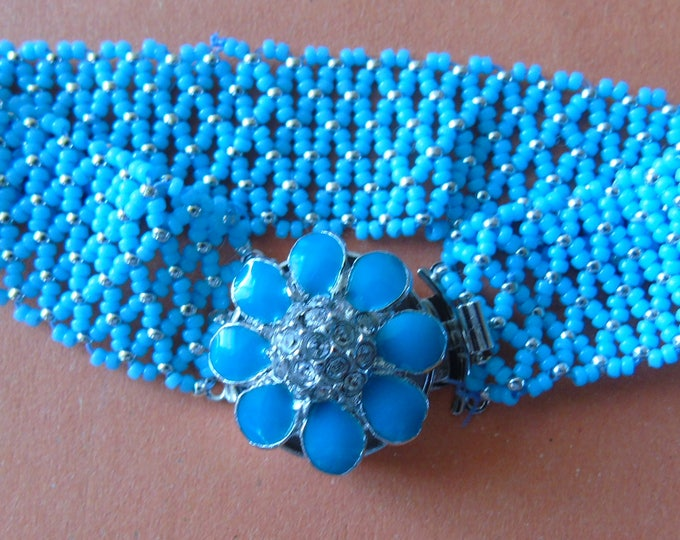 Bracelet with flower clasp #turquoise-silver #17cm #netting technique #gift #women