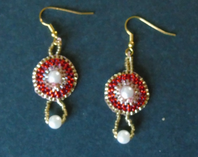 Earrings # red-gold # ear hook