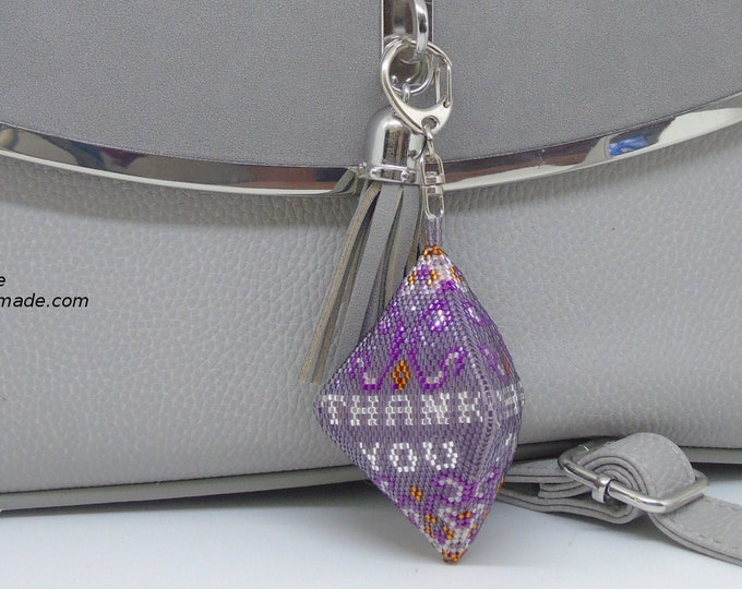 "Bag charm ""Thank you"" #Peyote # threaded 8 cm"