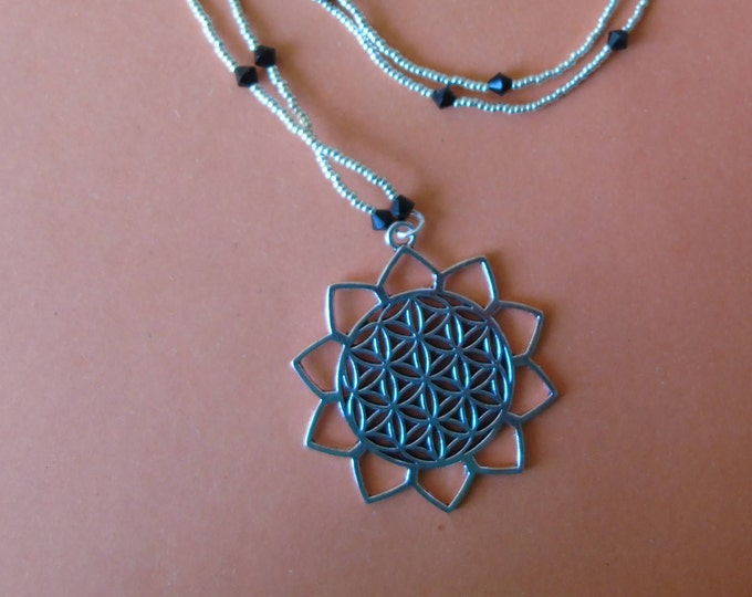 "Necklace ""Life Flower"" 70 cm #Pendant 4 cm #silver #black #Swarovski #magnetic clasp #threaded #handmade"