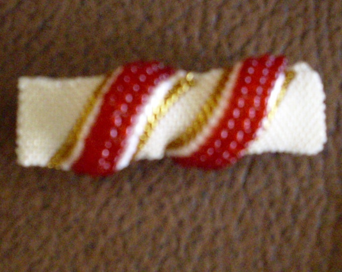 Hairclip # white #red #gold #handmade # 6.5 cm