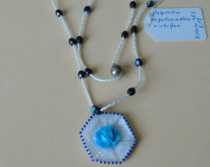 "Necklace ""Rose"" #white-blue #60 cm with #magnetic clasp #unique piece"