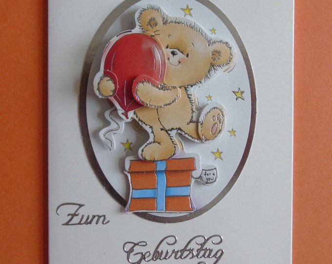 3-D Greeting Card #Birthday #Teddy #Children's Birthday