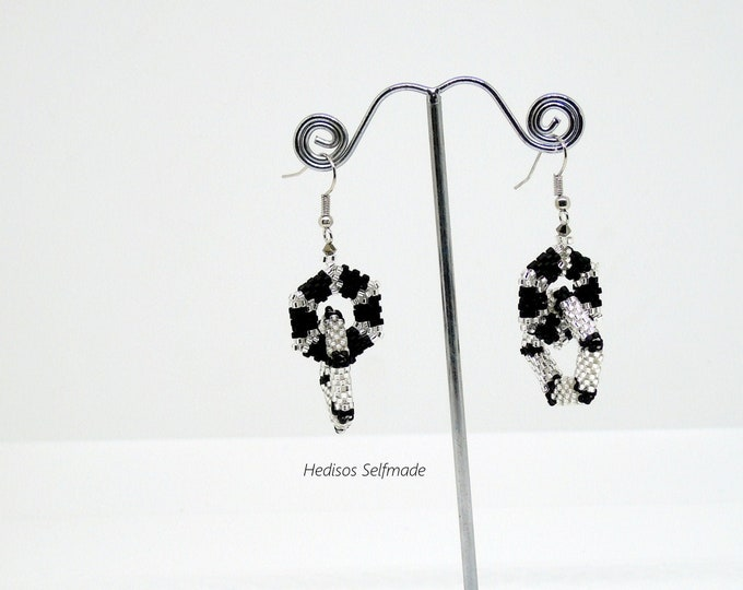 Earrings with intricate hexagons silver-black 6 cm