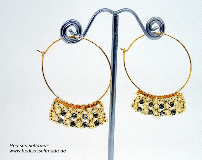 Earrings #Creoles made of god-colored #Miyuki #Rocaille and black #Swarovski threaded in mesh technology