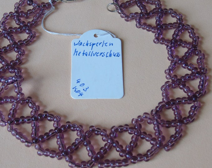 Necklace #37 cm #violet #wax beads