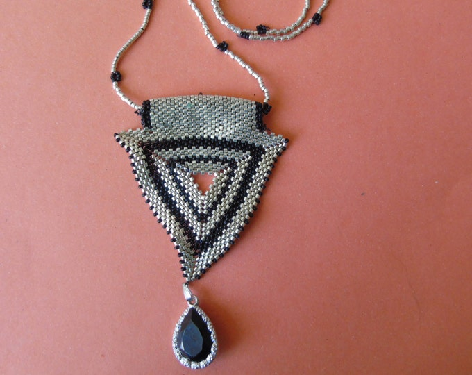 Necklace #60 cm  #silver-black #triangle pendant #glass stones #magnetic clasp #handmade