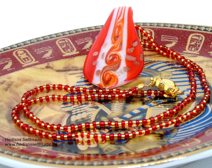 Noble necklace, 60 cm, in red-gold with glass pendant, 7 cm, in red, white and gold