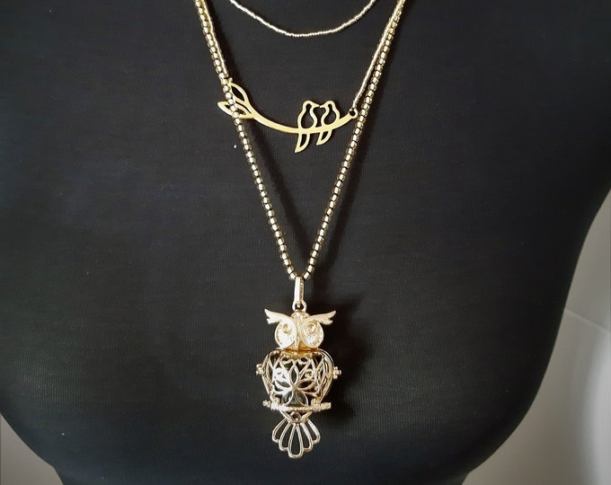 Necklace with owl and lovebirds #Sky caller # 3Stränge 45, 50, 60 cm #golden