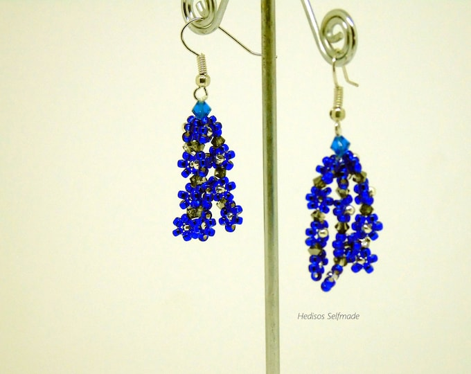 "Earrings, # earrings ""flowers"" #royal blue, 5 cm"