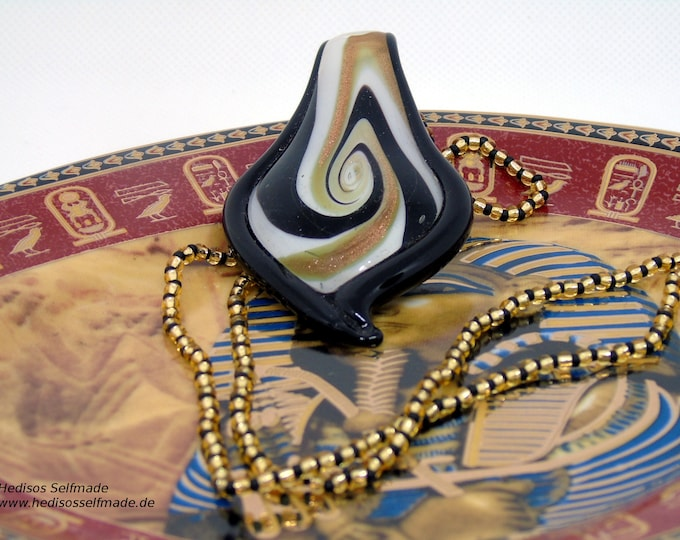 Noble necklace, 60 cm, in black-gold with a glass pendant, 8 cm, in black, white and gold