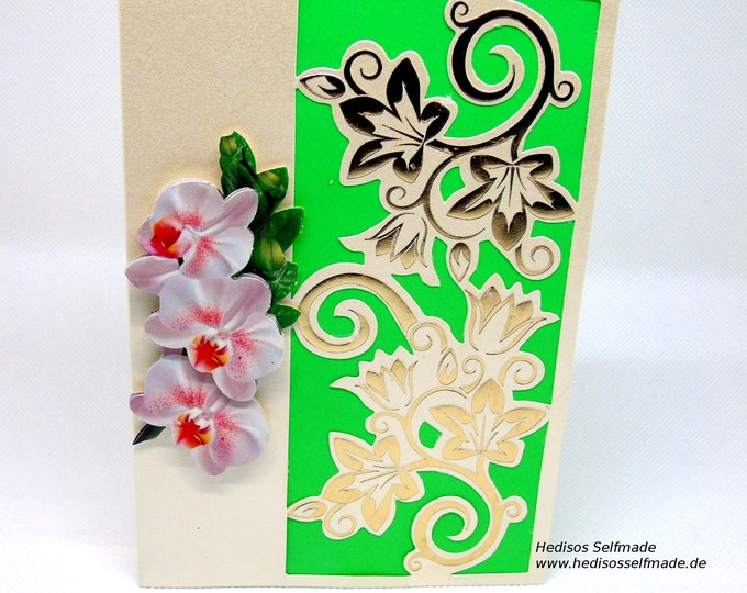 Birthday card # orchid and # tendrils # 3-D # handicraft