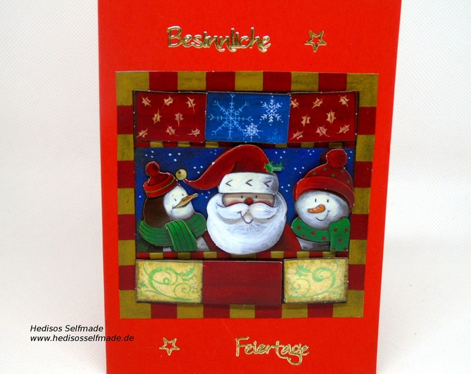 3-D Christmas card with #Snowman #Santa Claus and #Penguin