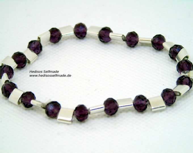 Bracelet made of hematite and cut glass stone 17 cm elastic