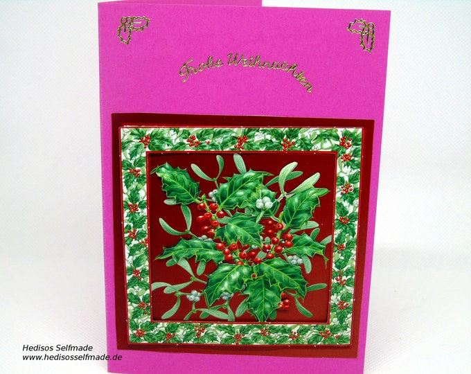 3-D Christmas card with #Holster and # mistletoe