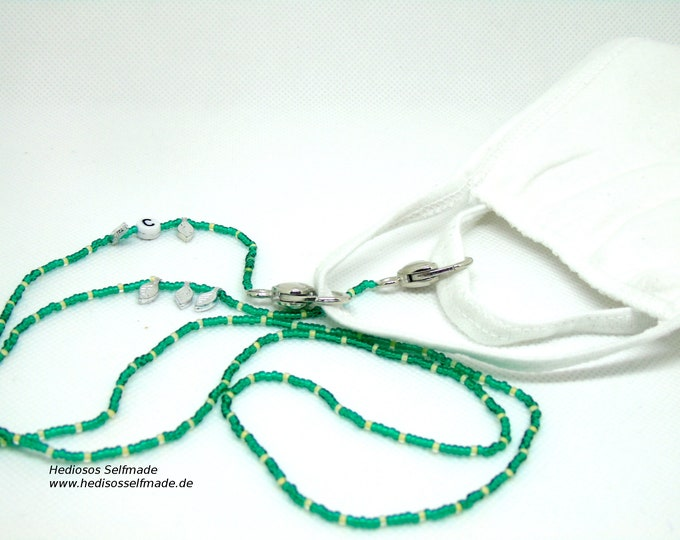 Mask chain # green # cream white with silver feathers and monogram 80 cm