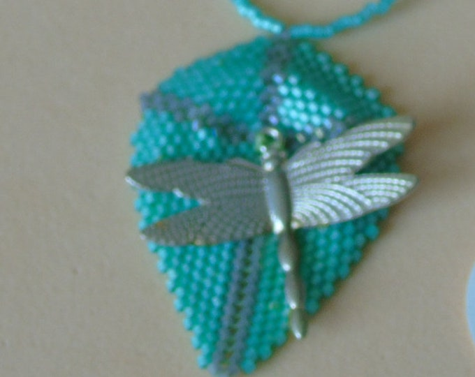 "Necklace ""Dragonfly"" # turquoise #silver # 60 cm #Knebelverschluss"