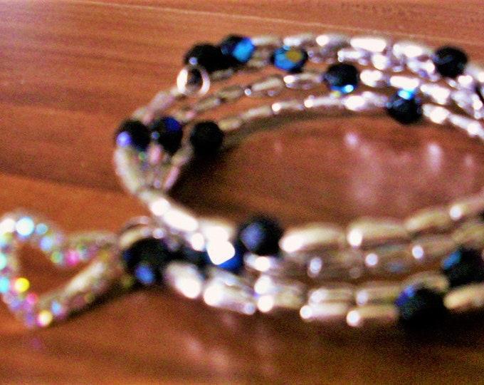 Spiral bracelet # white # blue # heart pendant #gift #women #handwork
