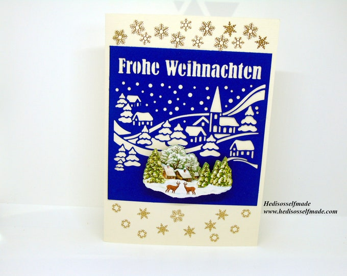 3-D Christmas card with # punch motif