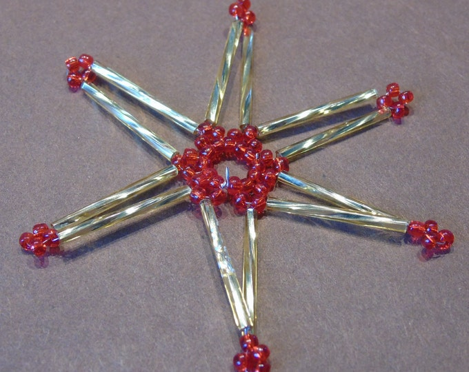 Star of bethlehem #red-gold #Pearl star #8 cm #Handwork #Christmas decorations