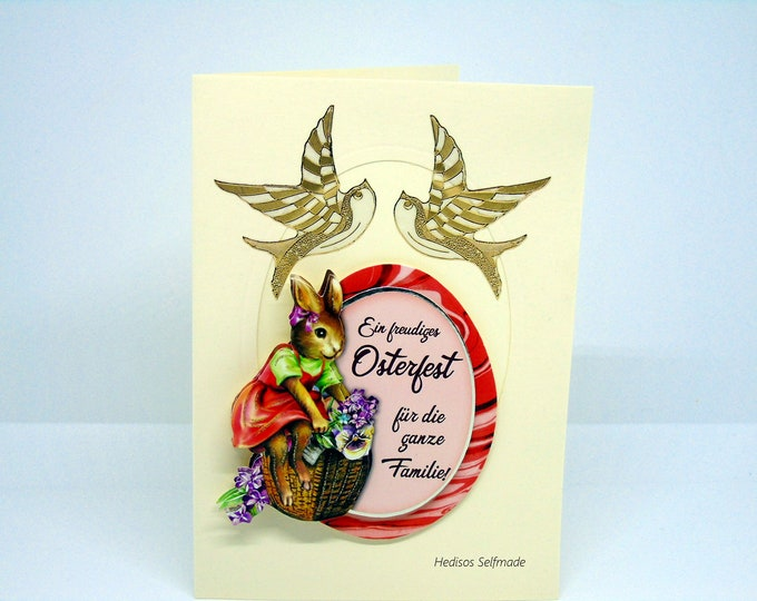 Easter card # 3-D look #Easter egg with saying, #Easter bunnies and #Swallows