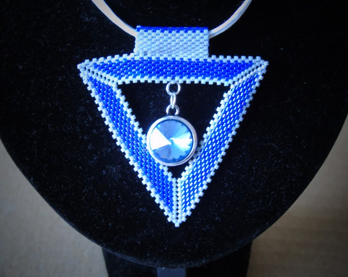 Necklace # 50 cm # Triangle pendant # blue-gray #Carabiner clasp #glass cut stone blue #adjustable