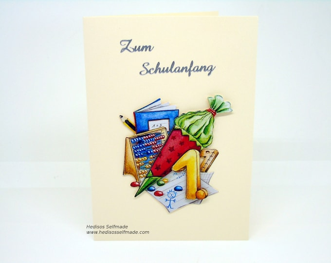 Congratulations card # school introduction # 3-D for boys and girls