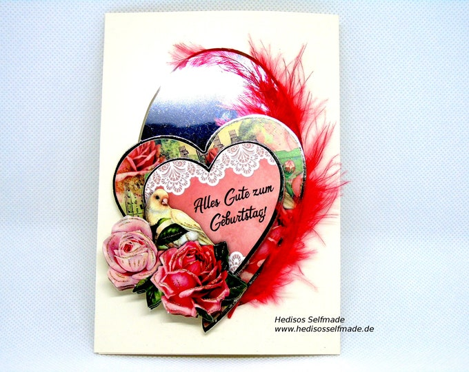 3-D greeting card with roses, dove, red feather, backed with mirror film