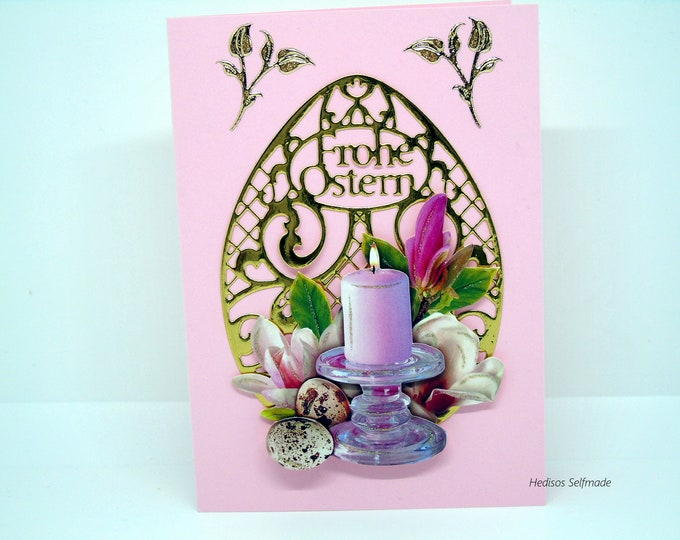 Easter card # 3-D look #Easter candle with # blossoms of the tulip tree