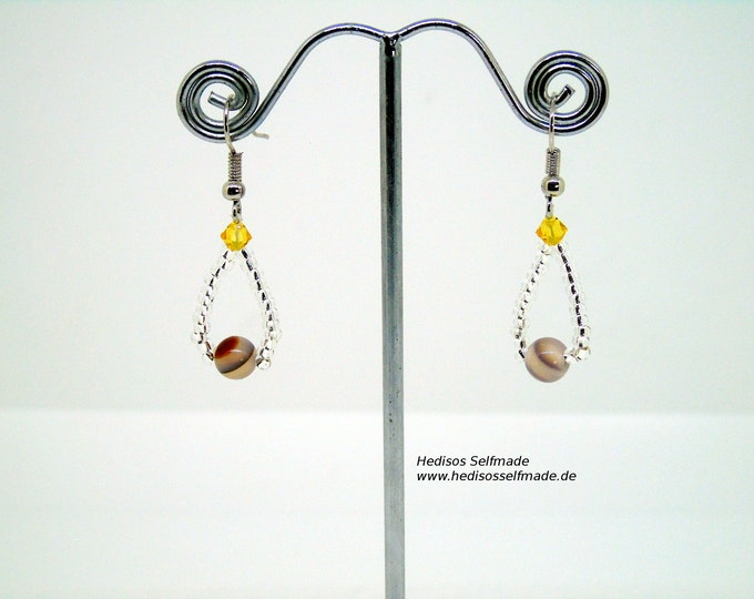 Earrings # Earrings with Botswana agate and topas coloredSwarovski 4 cm