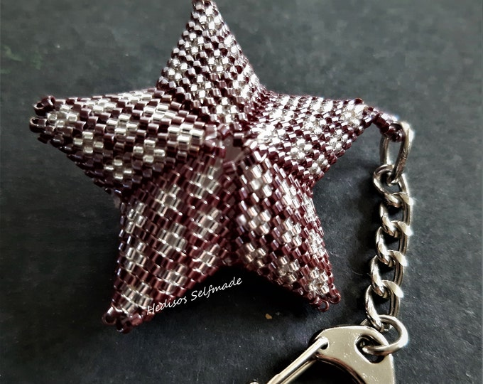 3-D-Anhänger # keyring #stars # threaded # red-brown-silver # 6 cm