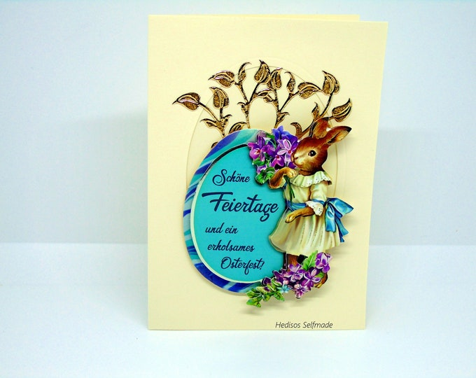 Easter card # 3-D optics #Easter egg with saying, #Easter bunnies, #Violets