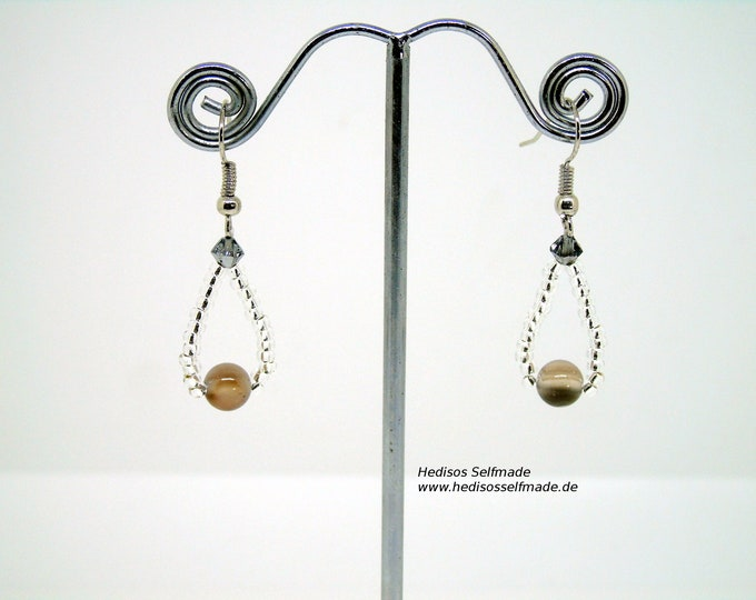 Earrings # Earrings with Botswana agate and silver Swarovski 4 cm