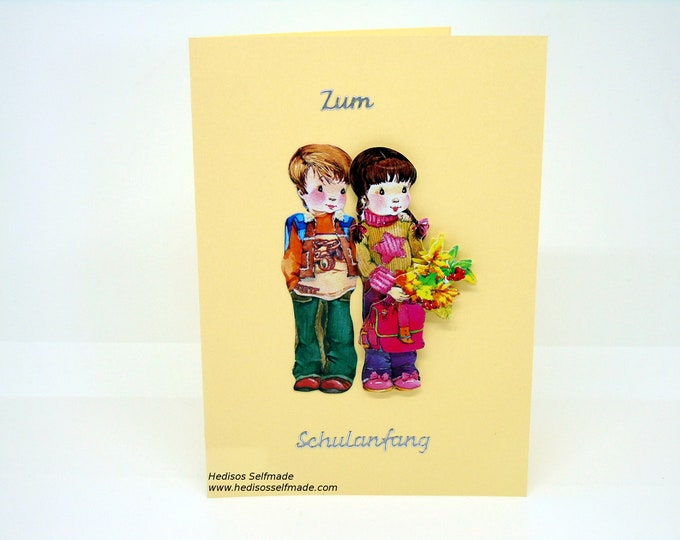Congratulations card # school introduction # boy # girl # 3-D