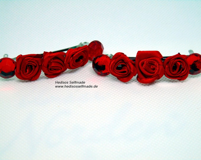 2 hair clips # red roses and # cabochon 7 cm