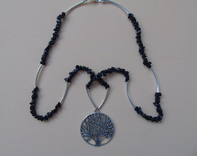"Necklace # ""Tree of Life"" # black-silver #Stone Beads #Magnetic clasp"