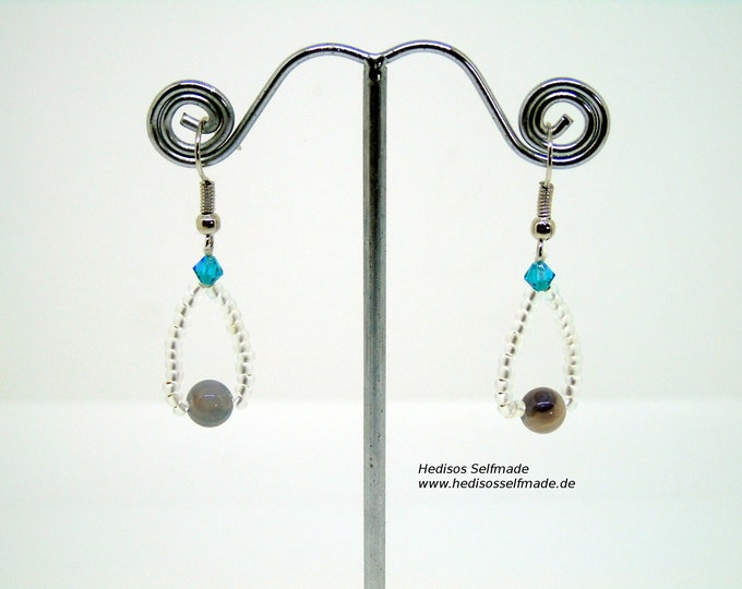 Earrings # Earrings with Botswana agate and turquoise colored Swarovski 4 cm