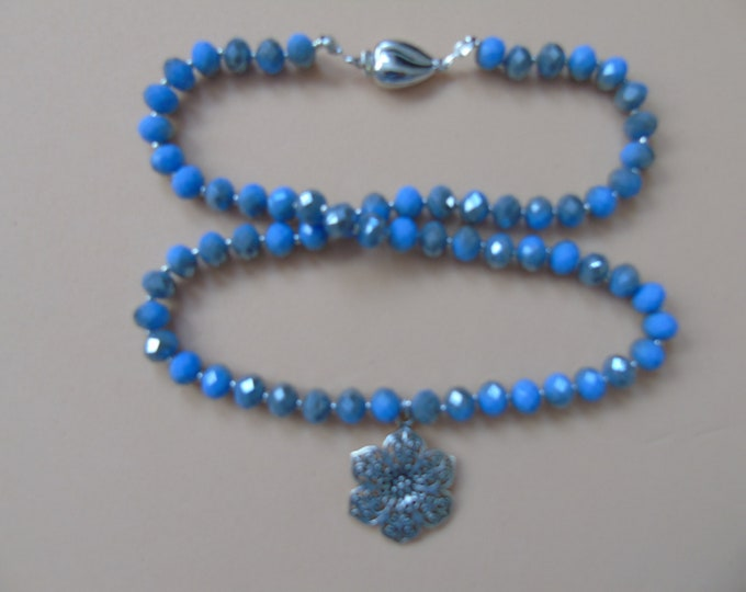 "Necklace ""flower"" # blue-silver # 50 cm"