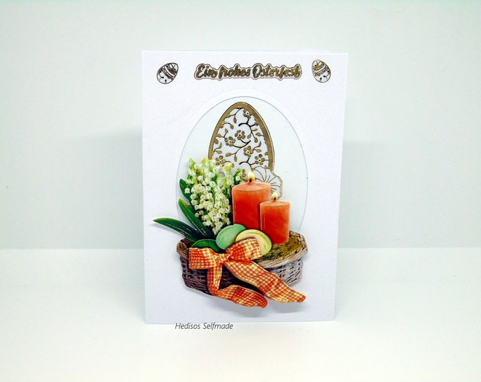Easter card # 3D look #Easter candle #Easter egg # Lily of the valley
