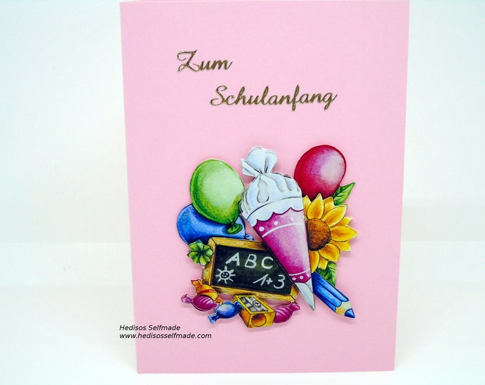 Congratulations card # school introduction # 3-D pink
