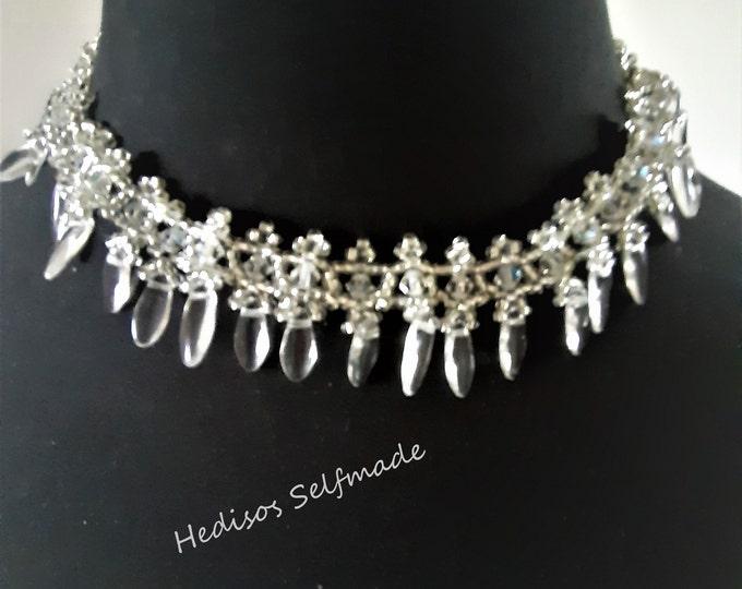 "Necklace ""Crystal"" # 42 Swarovski # 45cm #Magnetic clasp"